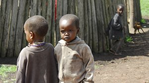 Afrikan children: Children in a masai camp in countryside of Tanzania, Afrika