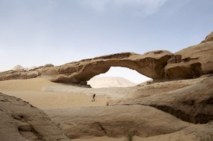 Natural bridge: A sandstone bridge in Wadi Rum desert in Jordan