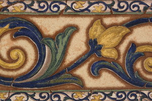 vintage tile: Detail of an outdoor border tile.