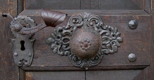 door lock: door lock of an old church in Bavaria/Germany
