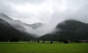 fog: Rainy morning in Bavaria/Germany: The beginning of a thunderstorm