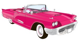 Pink Convertible: Vector Illustration
