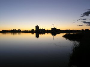 Moncton night Skyline: This is a shot of the Moncton skyline at night and high tide