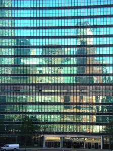 UN Reflections 2: Reflections in the United Nations building, NY 2006