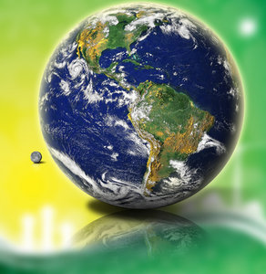 Earth and Green and Yellow: A very high resolution photo of earth glowing against lively yellow and green backdrop