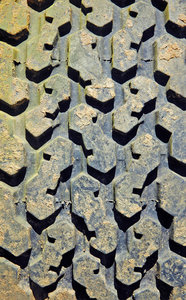 Sandy Tread: Sand on a rugged tyre.NB: Credit to read