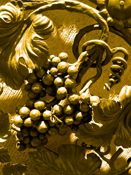 wrought iron golden wine