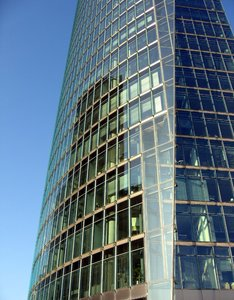 glass office tower: This building can be found on the Potsdamer Platz in Berlin, Germany.