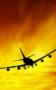 Airplane sunset illustration: illustration of an airplane in a sunset sky