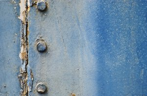 Blue peeled texture with bolts