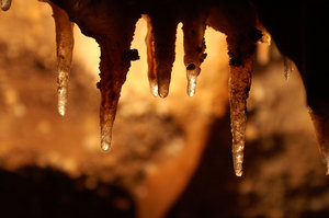 Stalactites: An icicle-shaped mineral deposit, usually calcite or aragonite, hanging from the roof of a cavern, formed from the dripping of mineral-rich water.