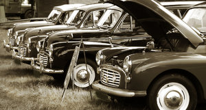 Vintage Cars In Sepia: Old cars from 1950s in a row