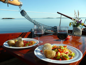 After sail: A dinner in the boat.