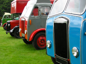Old trucks: Fronts of old, colourful trucks