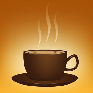 Luv a Cuppa: Steaming cup of coffee/chocolate/tea over a warm, yellow background.
