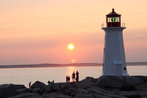 Peggy's Cove with People: Peggy's cove at sunset