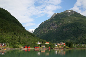 Fjord village: A village beside a fjord in Norway.