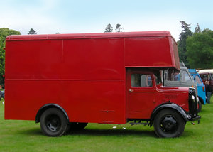 Red vintage truck: Vintage carpet truck