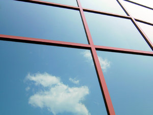 Office Place: I wanted to have this with a sky full of clouds reflected in the glass, but this is all mother nature would float my way! I kind of like the simplicity of it now. :-)