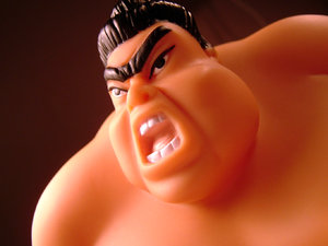 Angry Sumo: This is a little plastic toy sumo wrestler (that looks very angry with his one big eyebrow)! :-) I thought it would be fun to capture this trying to make him look as big as real life!