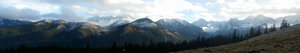 Tatry mountains: Tatry mountains, high mountains, slopes, peaks, clearing in the mountains, clearing skies, clouds, bench, bench in the mountains