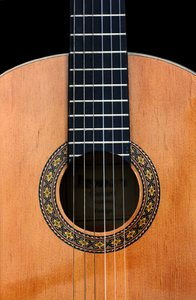 Classical Guitar: Classical guitar soundbox close-up