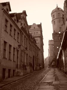 old town street: Szczecin, near the castle and opera