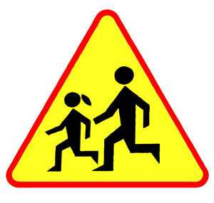 Warning sign: kids on road: Warning sign - children crossing.