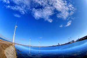 Windmills with fisheye - HDR: Windmills outside Copenhagen. Using Fisheye lens. The picture is HDR using 3 images.