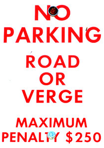 no parking: warning sign - no parking on verge penalties