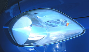 headlight: clean and polished car headlight - background