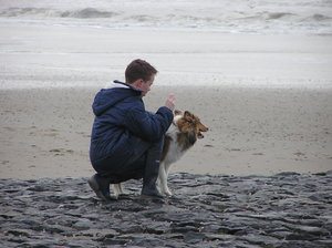 Boy and dog on the beach