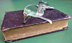 polyglott Bible and glasses: old Bible - polyglott Bible and glasses