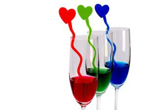 RGB Hearts'n Glasses: Red, green and blue drinks with same colored sticks with a hearts in a champagne glass.