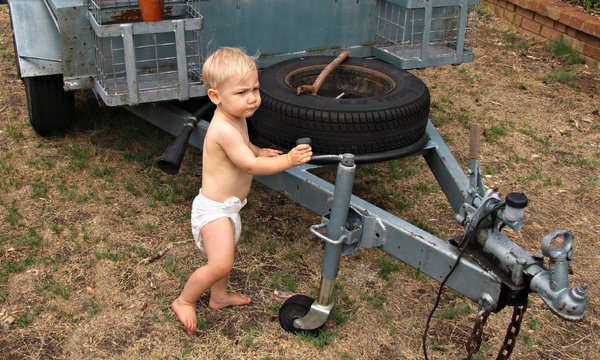 mighty mini mover: determined and observant toddler who had worked out how his father could move the trailer and thought he could do the same
