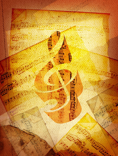 Sheet Music 1: Variations on a sheet music collage.