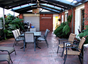 back patio: backyard patio of Australian suburban home