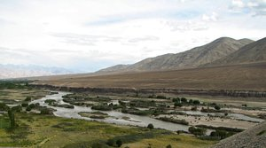 Indus River: A ringside view of the River Indus, Leh Valley & the Stok Mountain range.