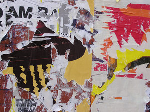 Old torn poster wall