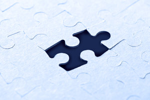 Blue jigsaw: puzzle pieces