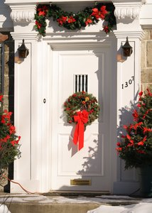 Christmas door: Christmas door with wreath
