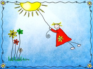 Hang in there: Illustration of a girl hanging from the sun