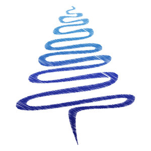Blue Scribble Xmas Tree: Abstract Christmas tree, blue over white.