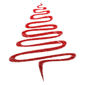 Red Scribble Xmas Tree.