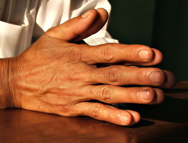 hands1: man's folded hands - as in prayer