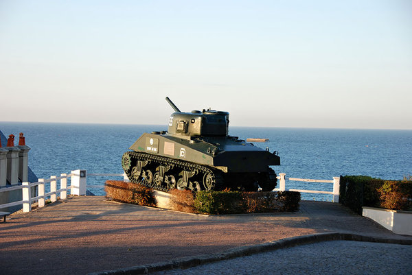 old tank: taken on normandy beach, old sherman (I think) tank