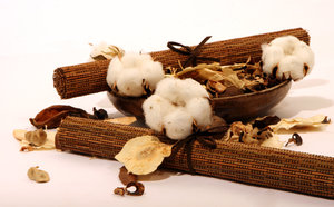 cotton flower abstract: cotton flowers with  rattan tablemat and wooden bowl,dry flower and lefas around