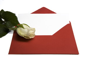 letter and rose concept: envelope and rose