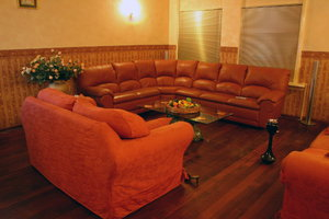romantic interior: red sofa room