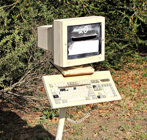 monitoring snail mail: computer monitor and keyboard used as a 'snail mail' letterbox